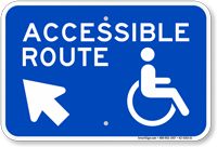 Accessible Route Up Arrow Pointing Left Sign
