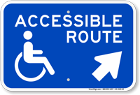 Accessible Route Up Arrow Pointing Right Sign