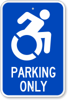 Parking Only Sign With International Symbol Of Access