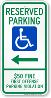 Alabama Reserved Accessible Parking Sign, Right Arrow