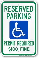Delaware Reserved ADA Parking, Permit Required Sign