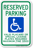 Hawaii Reserved Accessible Parking, Licence Required Sign