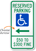 Missouri Reserved Accessible Parking Sign, Right Arrow