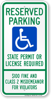 South Dakota Reserved ADA Parking, Permit Required Sign
