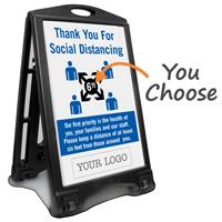 Add Your Logo Social Distancing Custom Sidewalk Sign