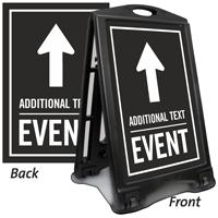 Ahead Arrow Event Parking Sidewalk Sign