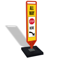All Way Stop Here FlexPost Portable Paddle Sign Kit