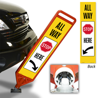 All Way Stop Here With Arrow FlexPost Paddle Sign Kit