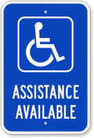 Assistance Available With Handicap Symbol Ada Sign