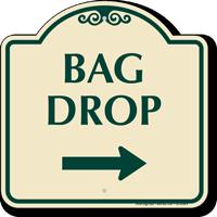 Bag Drop Designer Sign With Right Arrow