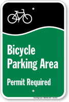 Bicycle Parking Area Permit Required Sign
