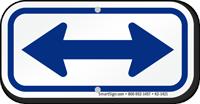 Bidirectional Arrow, Supplemental Parking Sign, Blue