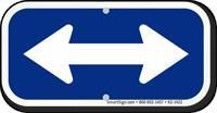 Bidirectional Arrow, Supplemental Sign, Blue Reversed