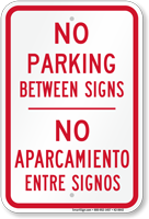 Bilingual No Parking Between Signs