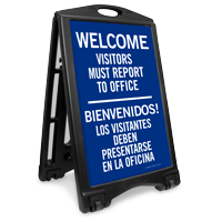 Bilingual Visitors Report To Office Sidewalk Sign