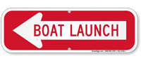 Boat Launch Left Arrow Directional Sign