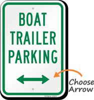 Boat Trailer Parking Bidirectional Arrow Sign
