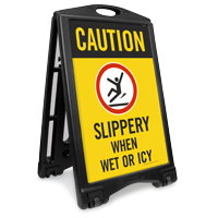 Caution Slippery When Wet Icy Sidewalk Sign