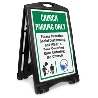 Church Parking Only Practice Social Distancing and Wear a Face Covering Upon Entering BigBoss A-Frame Portable Sidewalk Sign
