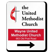 Custom Directional Arrow Church Sign