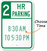 Customizable Hour Parking Limit Sign