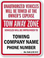 Custom Alabama Tow-Away Sign