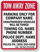 Custom Colorado Tow-Away Sign