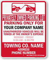 Custom Indiana Tow-Away Sign