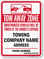 Custom Iowa Tow-Away Sign