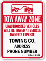 Custom Kansas Tow-Away Sign