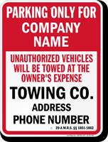 Custom Maine Tow-Away Sign