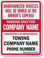 Custom Mississippi Tow-Away Sign