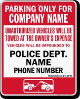 Custom Montana Tow-Away Sign