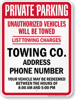 Custom New York Tow-Away Sign