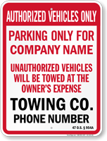 Custom Oklahoma Tow-Away Sign