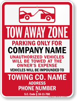 Custom South Carolina Tow-Away Sign