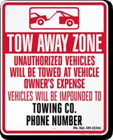 Custom Wisconsin Tow-Away Sign