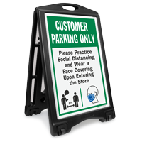 Customer Parking Only Practice Social Distancing and Wear a Face Covering Upon Entering BigBoss A-Frame Portable Sidewalk Sign