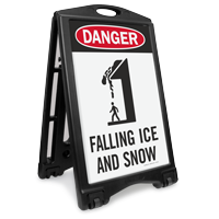 Danger Falling Ice And Snow Sidewalk Sign