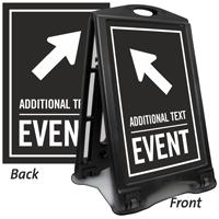 Diagonally Left Arrow Event Parking Sidewalk Sign