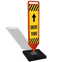 Dive Thru And Wrong Way Flexpost Portable Paddle Sign Kit