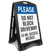 Do Not Block Driveway Portable Sidewalk Sign