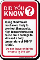 High Temperatures Dont Leave Children Pets Car Sign