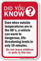 Did You Know Dont Leave Children Car Sign