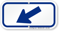 Downwards Left Arrow, Supplemental Parking Sign, Blue