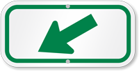 Downwards Pointing Green Arrow Supplemental Parking Sign