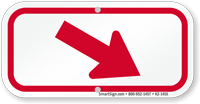 Downwards Right Arrow, Supplemental Parking Sign, Red
