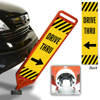 Drive Thru Flexpost Paddle Sign Kit With Arrow