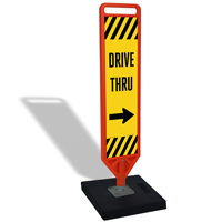 Drive Thru Flexpost Portable Paddle Sign Kit With Arrow