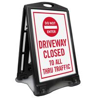 Driveway Closed, Dont Enter Portable Sidewalk Sign